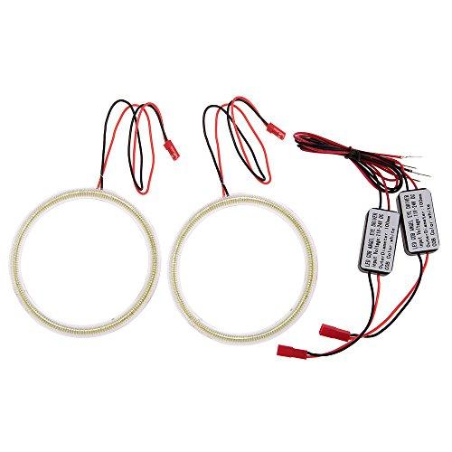 Carchet 2X Car Round Ring 102 Led Cob White Decorative Light Headlight 100Mm