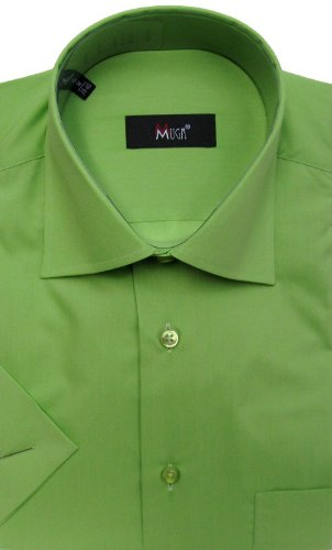 MUGA mens Shortsleeve shirts for Casual and Formal, Green, Size L