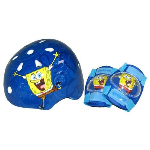 SpongeBob Hardshell Bicycle Helmet and Protective Pad Value Pack (Child, Colors Vary
