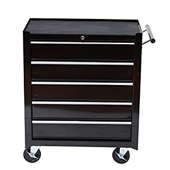 HOMCOM RollingTool Cabinet with 5 Drawer, 24 Inch Wide