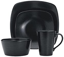 Noritake 4-Piece Square Black on Black Place Setting, Swirl
