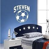 Wall Sticker Personalised Name Football Sport Boys Nursery Wallpaper Bedroom