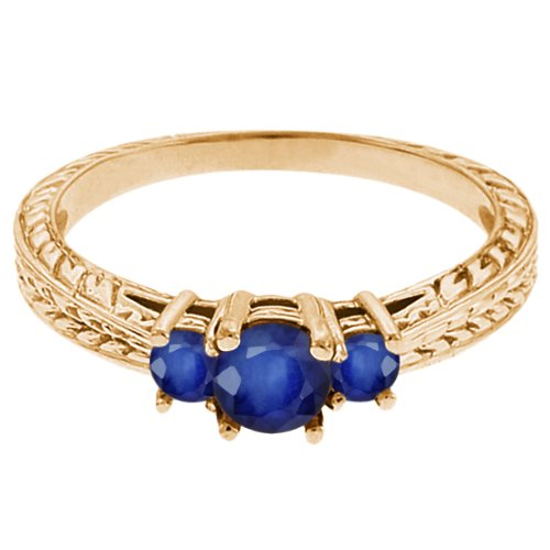 0.62 Ct Round Blue SI1/SI2 Sapphire 14K Yellow Gold 3-Stone Ring