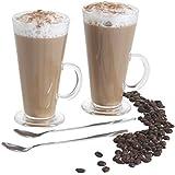 VonShef : Magnifique Set de 2 grands verres latte de 250 ml en forme de V accompagné de 2 cuillères à manche long idéal pour les cafés, et les chocolats chaud 8x7x15cm