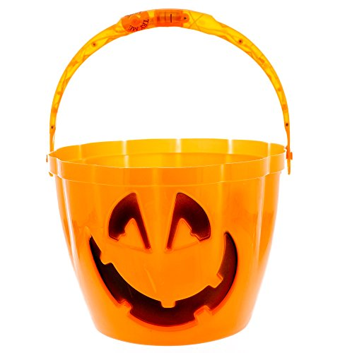 Orange Pumpkin Halloween Trick or Treat Bucket with Light Up Handle - 6.5