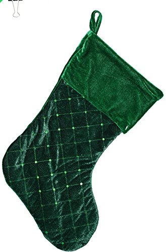 Sequin and Velvet Christmas Stocking (Green)