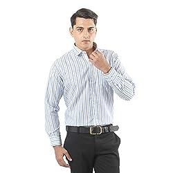 ZIDO Blue Blended Men's Striped Shirts PCFLX1294_Blue_40