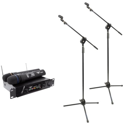 Pyle Dual Mic and Stand Package - PDWM2600 Dual UHF Wireless Microphone System - 2x PMKS3 Pair of Tripod Microphone Stands W/ Extending Boom