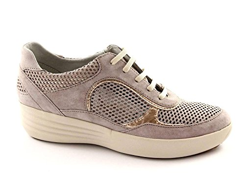 STONEFLY 104654 taupe scarpe donna sneaker forate lacci zeppetta comfort 38