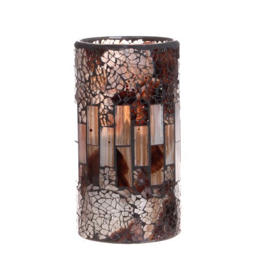 Dfl 3*6 Inch Brownness Mosaic Glass With Flameless Led Candle With Timer,Work With 2 C Battery