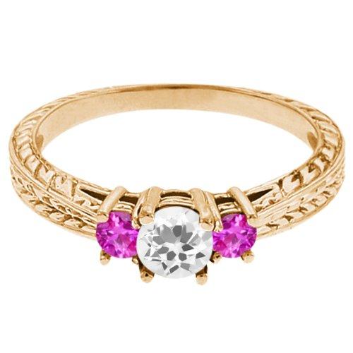 0.59 Ct Round White Topaz Pink Sapphire 18K Yellow Gold 3-Stone Ring