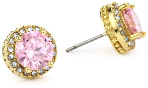 Betsey Johnson Gold-Tone and Pink Crystal Stud Earrings