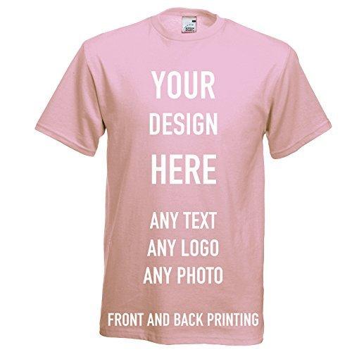 Custom Printed T-shirt, Personalizzato Magliette, Davanti E Dietro Stampato, Ottimi per Regali, Abbigliamento da lavoro, Uniforme & Eventi 12 Colori - Rosa Chiaro, L