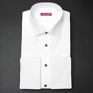 【日本製】ドレスシャツ ワイドカラー ダブルカフス(2ツ穴特別仕様) 長袖ワイシャツ 白 迷彩 DRESS CODE 101 LLサイズ