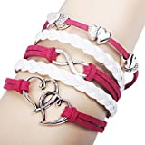 Music Notes and Infinity Charm Handmade Leather Bracelet