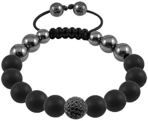 Cilly - Tresor Paris Bracelet - Black Diamond set in Silver, Black Crystal, Black Plating - Agate