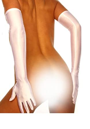 Silamoda - Femme - Gants longs satin - Unique - Blanc