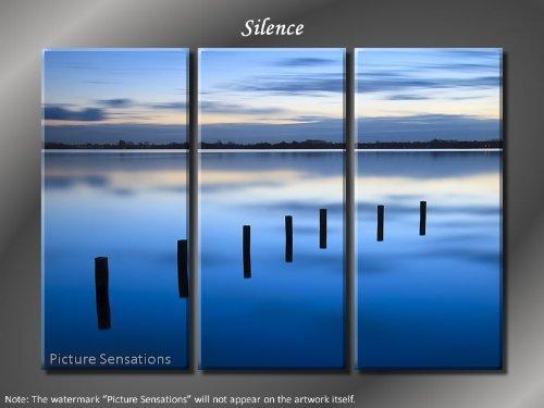 Framed Huge 3 Panel Modern Art Misty Lake Silence Giclee Canvas Print