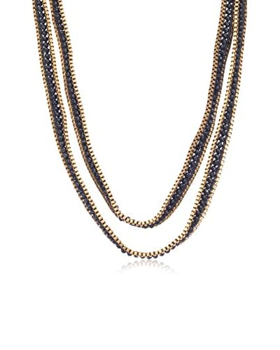 Passiana Black Crystal & Box Chain Wrap Necklace