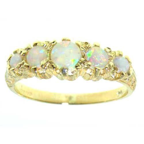 Antique Style Solid 14K Yellow Gold Natural Fiery Opal Ring with English Hallmarks - Size 9.25 - Finger Sizes 5 to 12 Available - Perfect Gift for Birthday, Christmas, Valentines Day, Mothers Day, Mom, Mother, Grandmother, Daughter, Graduation, Bridesmaid.