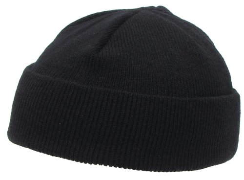 acrylic-watch-cap-tightly-knitted-black-extra-short