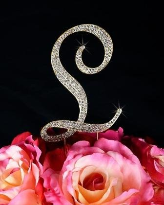 Unik Occasions Sparkling Collection Crystal Rhinestone Monogram Cake Topper - Letter L, X-Large, Silver