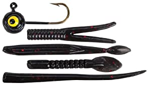 Lindy Ice Jig - Black/Black Neon Tails - 1/32 oz