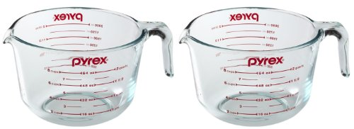 Pyrex Prepware 2-Quart Measuring Cup, Clear with Red Measurements (Pack of 2 Cups)