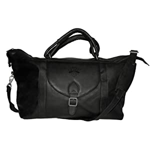 NBA Black Leather Top Zip Travel Bag by Pangea Brands