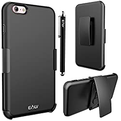 iPhone 6s Plus / 6 Plus case, E LV iPhone 6s Plus / 6 Plus Holster Case - Shock-Absorption / High Impact Resistant Black Dual Layer Armor Holster Defender Full Body Protective Case Cover with Belt Swivel Clip for iPhone 6s Plus / 6 Plus (5.5 Inch) - SLIM BLACK