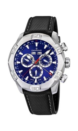Candino C4476/2 - Reloj cronógrafo de cuarzo para hombre, correa de cuero color negro (cronómetro, agujas luminiscentes)
