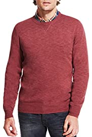 Pure Cotton Slim Fit Elbow Patch Jumper [T30-4492N-S]