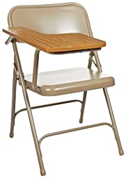 National Public Seating 5200 Series All Steel Premium Folding Chair with Right Tablet Arm, 480 lbs Capacity, Light Oak/Gray (Carton of 2)
