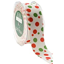 May Arts 1-1/2-Inch Wide Ribbon White with Red and Green Grosgrain Bubble Dots