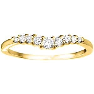 0.18 crt Cubic Zirconia Mounted In Yellow Plated Sterling Silver. Delicate Classic Curved Shadow Band.