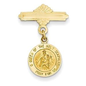 14k Gelb Gold Reversible Queen von die Heilige Skapulier/Heilige Herz Medaille PIN