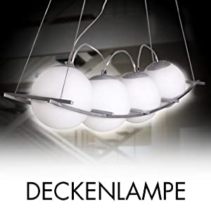 led deckenleuchte 4 er design deckenlampe h ngeleuchte pendelleuchte milchglas weiches licht review. Black Bedroom Furniture Sets. Home Design Ideas