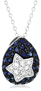 """Platinum Plated Sterling Silver Lab Created Blue and Cubic Zirconia Star Pendant, 18"""""""