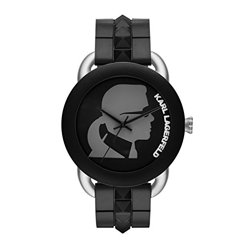 Karl Lagerfeld  - Reloj de cuarzo unisex, correa de goma color negro