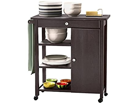 Lifestyle Design 637170 Arizona Kitchen Trolley 85 x 40 x 80 cm Rubber Wood/MDF Bemahlt, Top Panel, Black