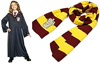 Harry Potter Cosplay Child Adult Costume Robe Cloak with Scarf/led Magic Wand