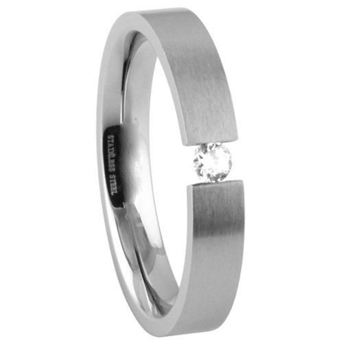 **LEAD FREE** 316L Stainless Steel 6mm Brushed Finish Solitaire Tension Set Cubic Zirconia Design Wedding Ring Band (Size 5 to 12) - Size 8