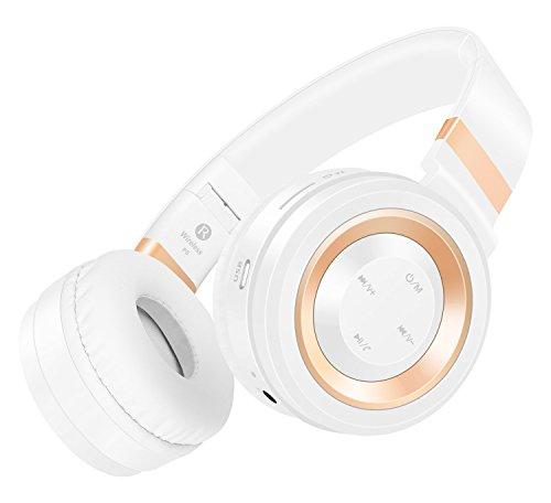 Sound Intone P6 Casque Bluetooth 4.0 - Casque audio Hifi stéréo aux Basses Puissantes, Pliable et Multi-color avec Micro intégré et Commande de volume - Compatible avec la plupart des téléphones portables intelligents (iPhone/Samsung), PC, TV (Blanc/Or)