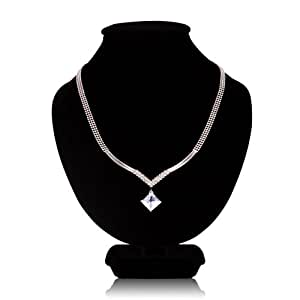 FASHION PLAZA 3-row Silver Tone Bead Choker Necklace with Princess Cut Clear Cubic Zirconia Pendent N157