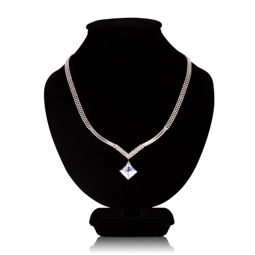 FASHION PLAZA 3-Row Silver/Gold Tone Bead Choker Necklace with Princess Cut Clear Cubic Zirconia Pendent