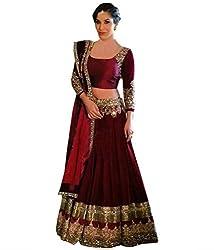 Khazanakart Designer Brown Color Banglori Fabric Un-stitched Lehenga Choli With Chiffon Dupatta Material.