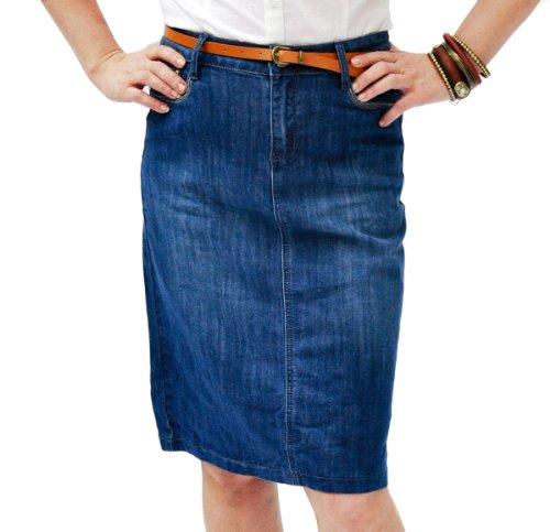 Gonna di jeans donna longuette - Stonewash blu denim fashion (SKIRT42)