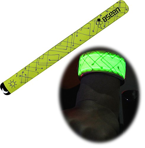BSeen 2ed Generation LED Slap Band, Patented Heat sealed design, Glow in the Dark, Water/sweat resistant, highly reflective printing, artistic designs, fashion meets safety (Green-Design I) (Green Fuel Tabs compare prices)