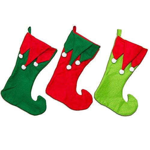 Felt Elf Pom Pom Christmas Stocking - 1