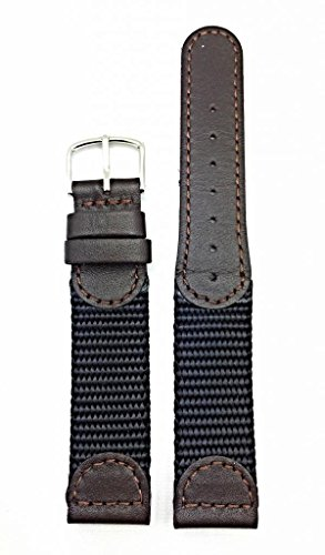 Newlife Brown Swiss Army Style; Soft Leather And Black Nylon 18Mm